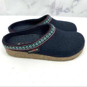 Haflinger Grizzly Navy Blue Wool Clog Slippers